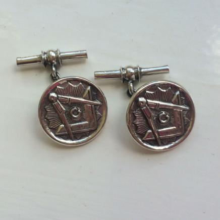 Photo of Pair Silver Masonic Cufflinks