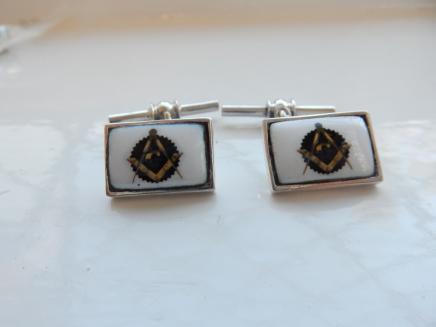 Photo of Pair Silver & Enamel Freemasons Cufflinks