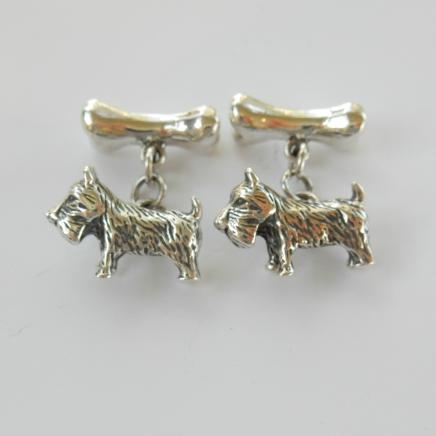 Photo of Sterling Silver Dog & Bone Cufflinks