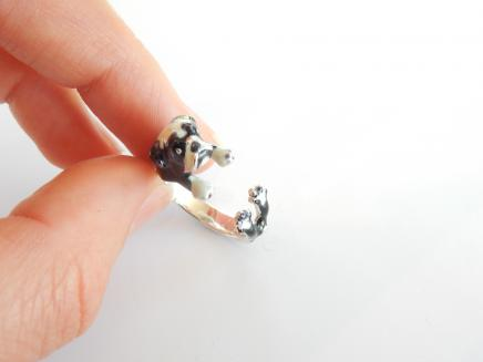 Photo of Solid Silver Enamelled English Bulldog Ring