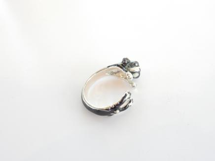 Photo of Solid Silver Enamelled English Bulldog Ring