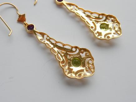 Photo of Gold Filigree Peridot Suffragette Earrings