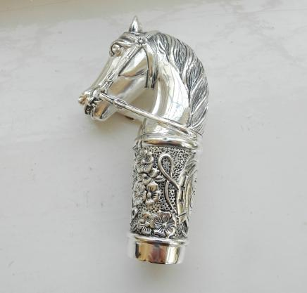 Photo of Silver Walking Stick Top in Shape of Horse