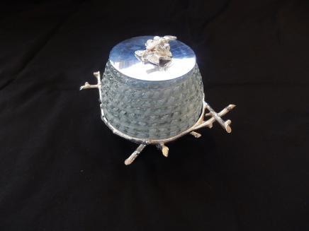 Photo of Silverplate & Glass Honey Jar