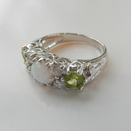 Photo of Solid Silver Peridot & Gilson Opal Ring