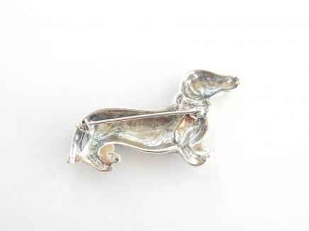 Photo of Black Enamel & Ruby Studded Dachshund Dog Brooch