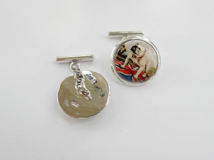 Photo of Solid Silver English Bulldog Cufflinks