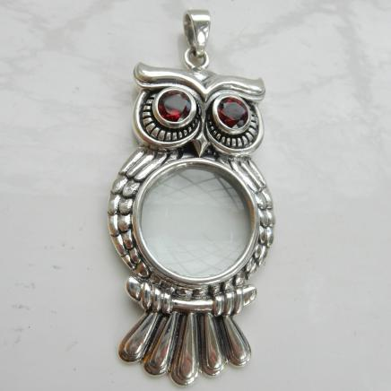 Photo of Sterling Silver & Garnet Owl Magnifying Glass Pendant