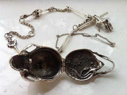 Photo of Solid Silver Fob Watch Chain & Gothic Skull Snuff Container