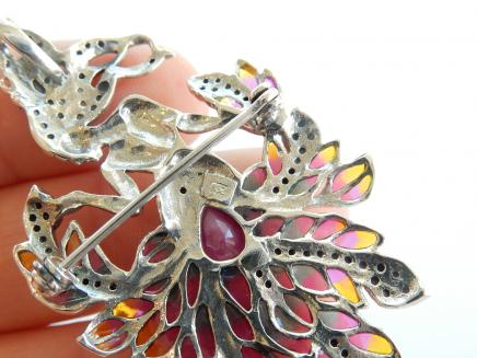 Photo of Silver Marcasite & Ruby Lady Pendant