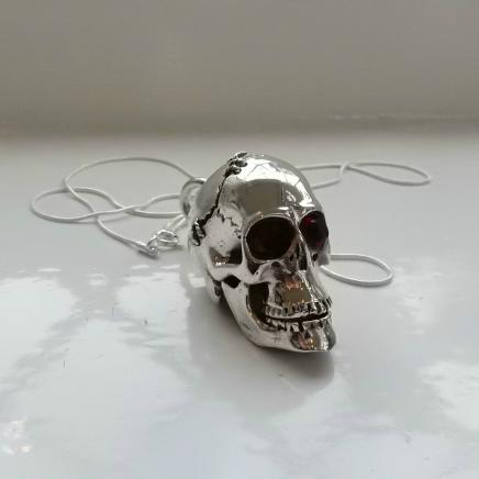 Photo of Solid Silver & Garnet Skull & Chain