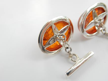 Photo of Sterling Silver Baltic Amber Cufflinks