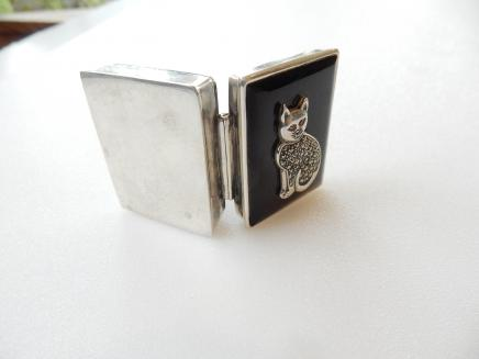 Photo of Sterling Silver Black Marcasite Cat Pill Box