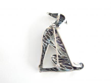 Photo of Silver Ruby & Black Enamel Greyhound Brooch