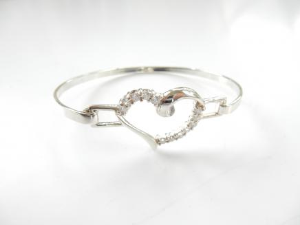 Photo of Sterling Silver Cubic Zirconia Heart Bangle