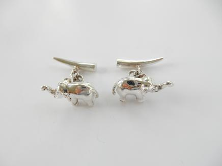 Photo of Pair Silver Elephant & Tusk Cufflinks