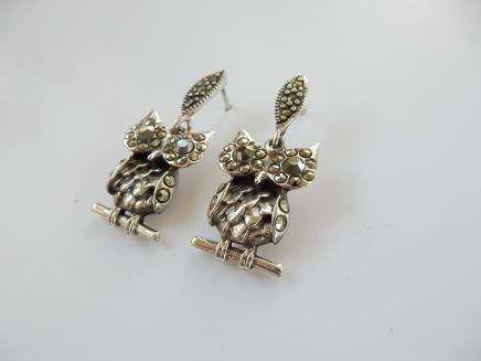 Photo of Silver Marcasite Owl Earrings