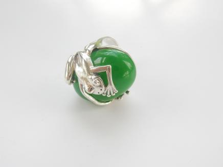 Photo of Sterling Silver & Jade Frog Ring