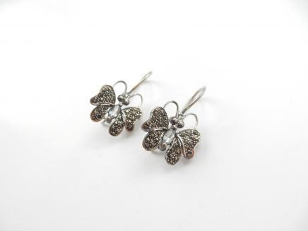 Photo of Sterling Silver & Marcasite Butterfly Earrings