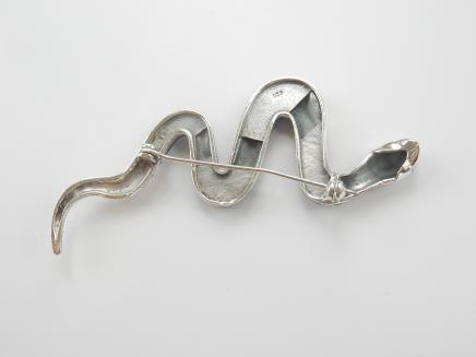 Photo of Silver & Black Onyx Snake Brooch
