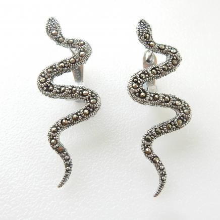 Photo of Sterling Silver Marcasite Snake Earrings