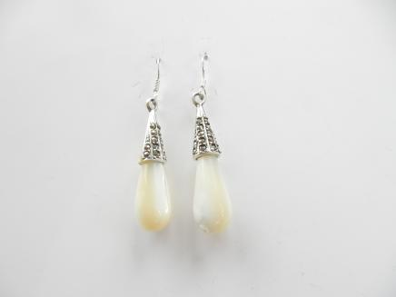 Photo of Sterling Silver Marcasite & Pearl Droplet Earrings