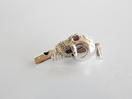 Photo of Sterling Silver & Ruby Gothic Skull Whistle