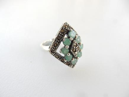 Photo of Silver Marcasite & Turquoise Ring