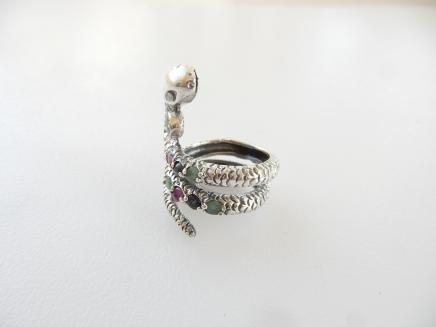 Photo of Sterling Silver Ruby & Turquoise Snake Ring