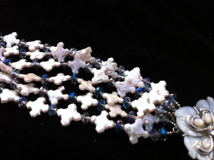 Photo of Vintage Sea Pearl & Blue Crystal Cuff
