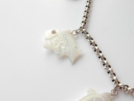 Photo of Vintage Natural Shell Animal Charm Bracelet