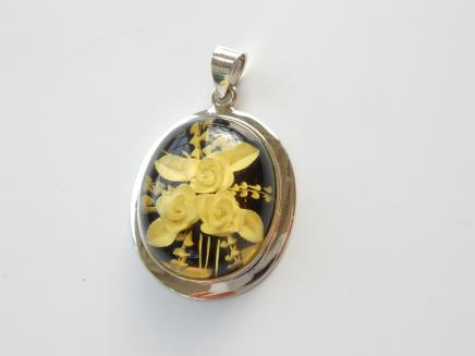 Photo of Vintage Reverse Carved Flower Pendant