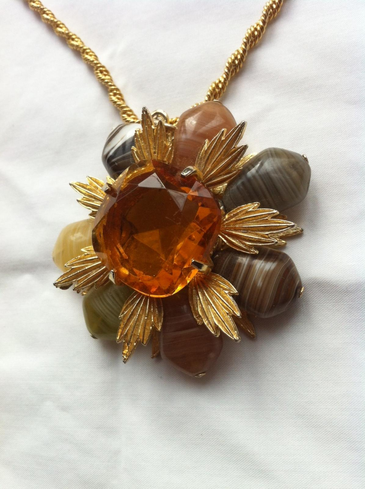 Photo of Vintage Amber Gemstone Flower Necklace