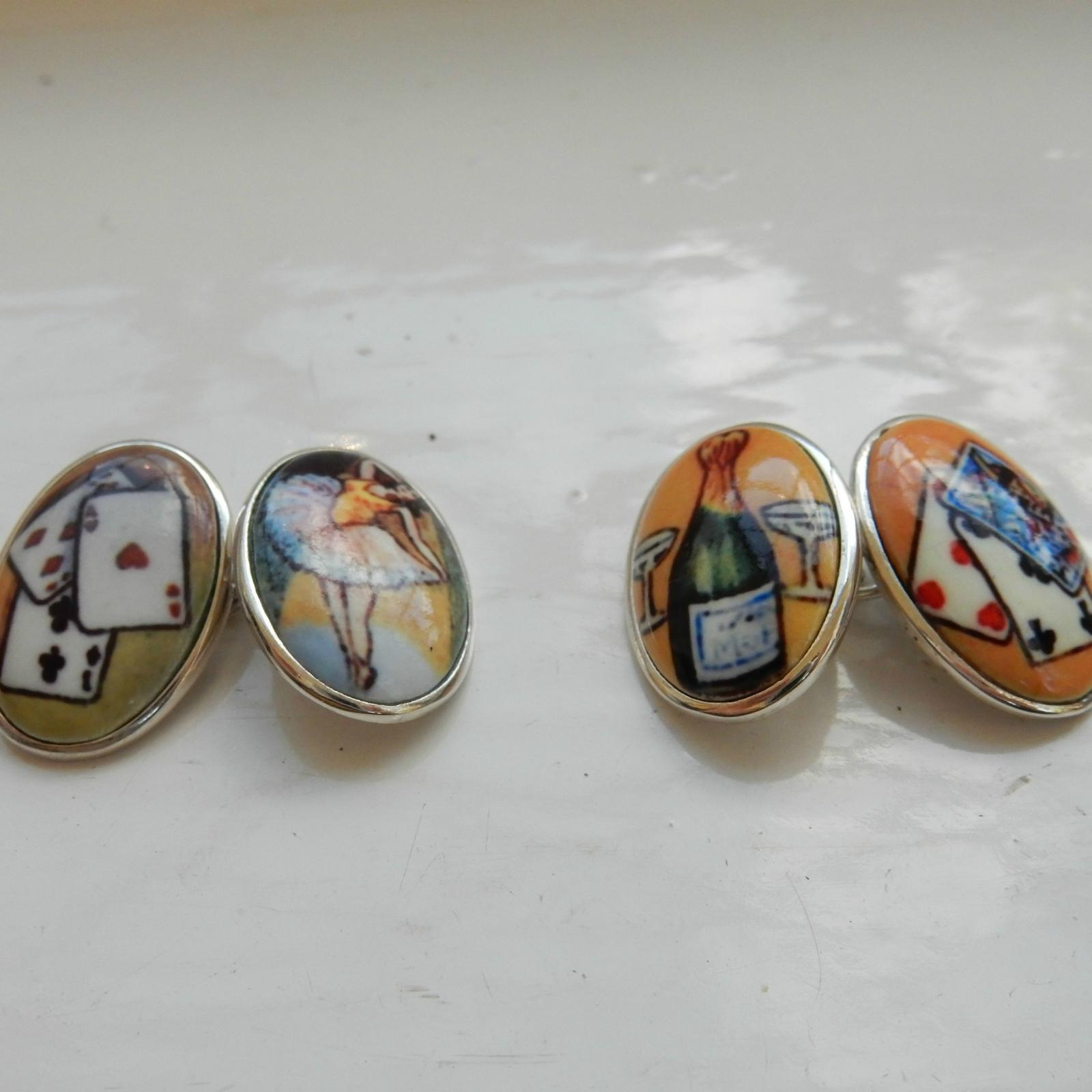 Photo of Pair Stelring Silver Pack Cards & Champagne Cufflinks