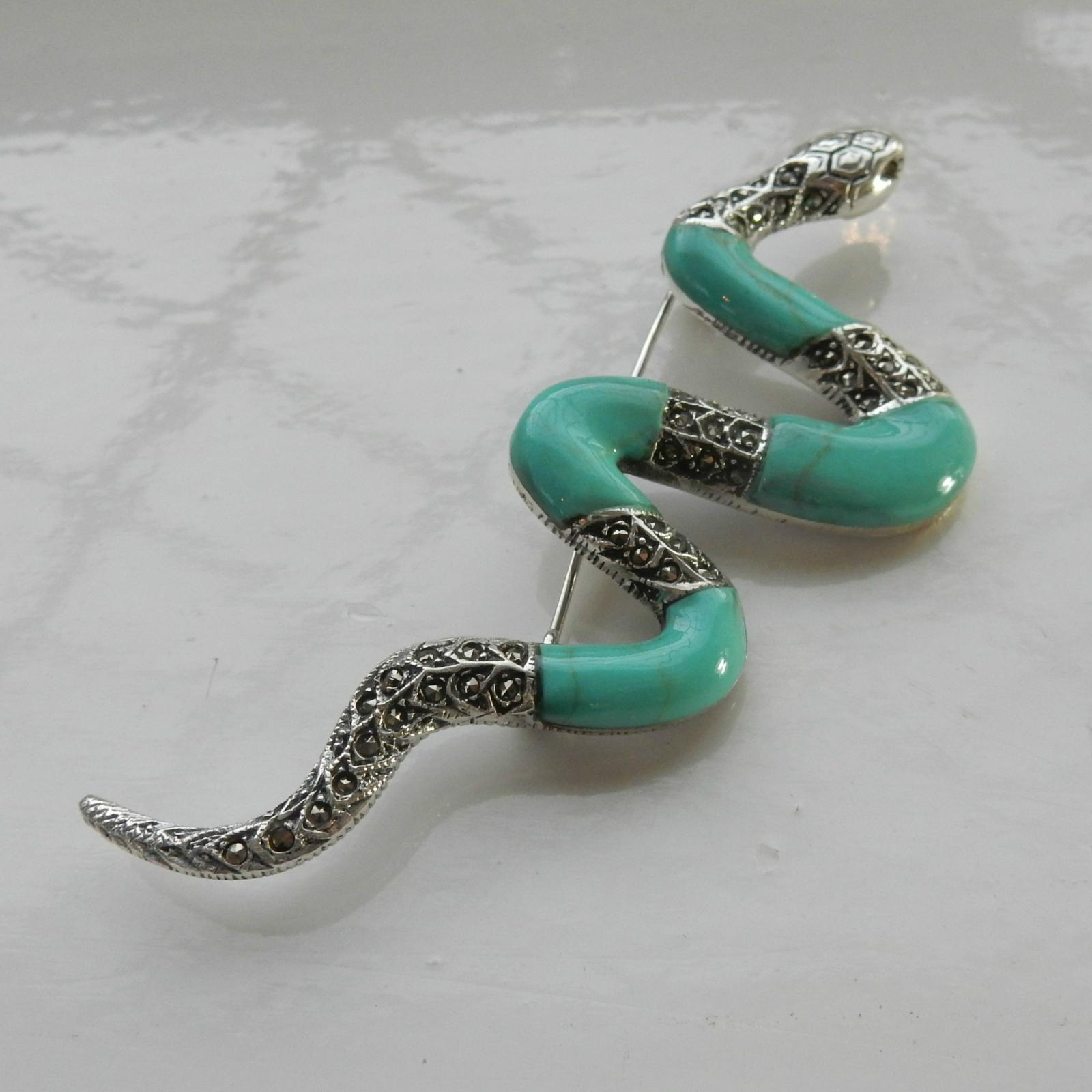 Photo of Art Deco Turquoise Serpent Brooch