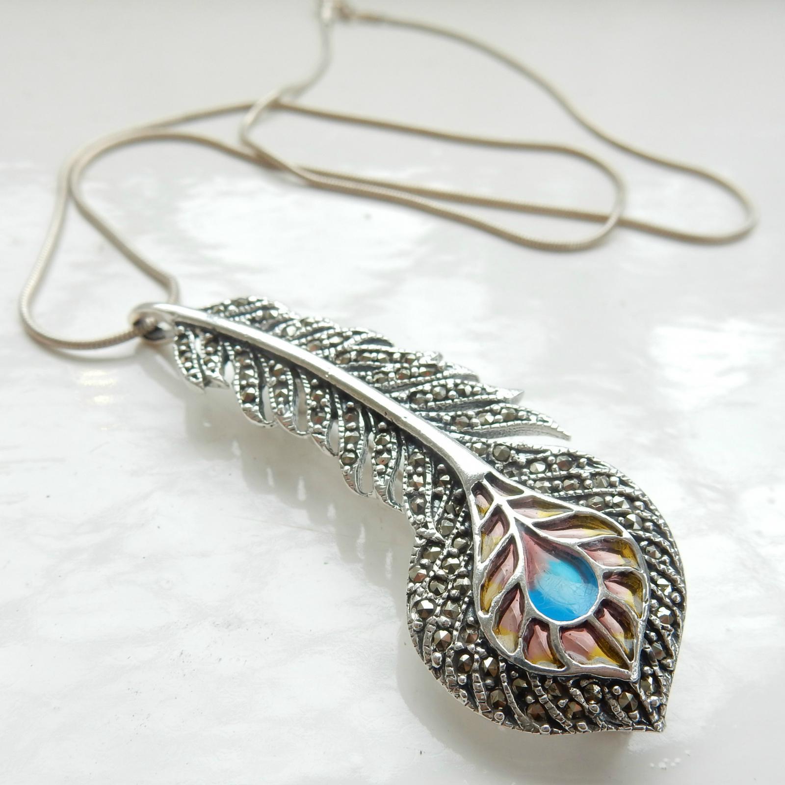 Photo of Art Nouveau Plique Du Jour Feather Necklace