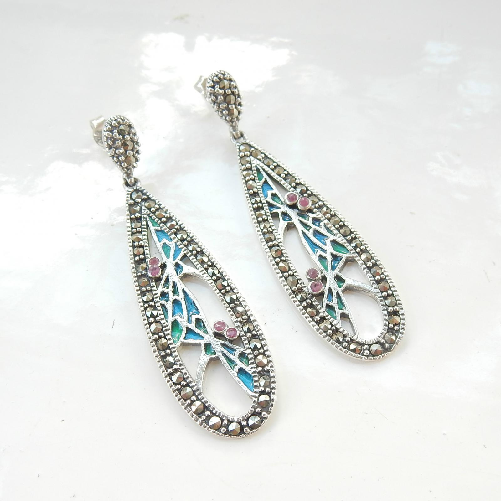 Photo of Pr Art Nouveau French Enamel Earrings