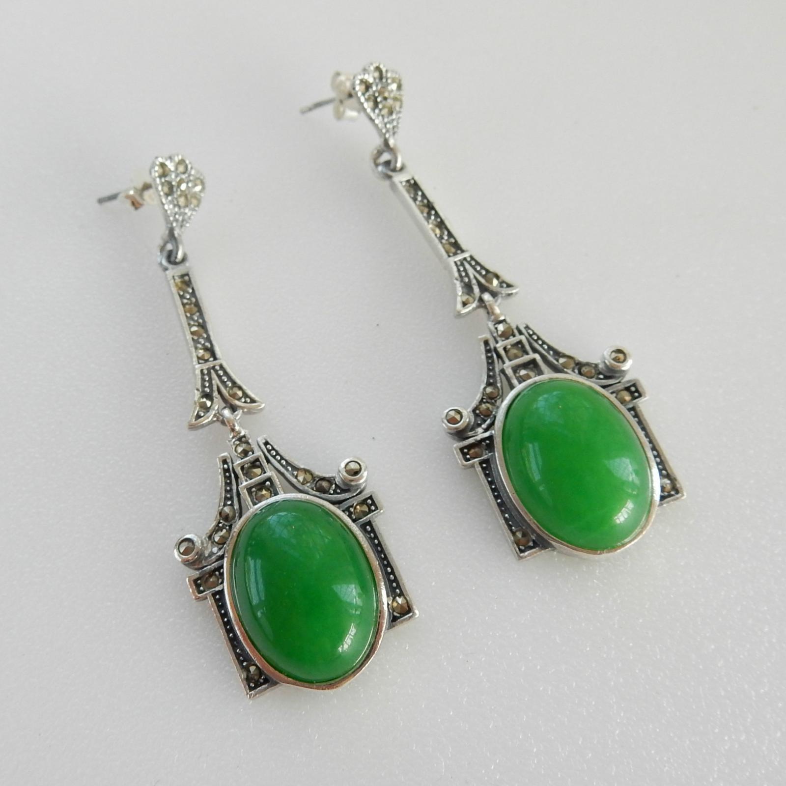 Photo of Art Deco Jade Droplet Earrings