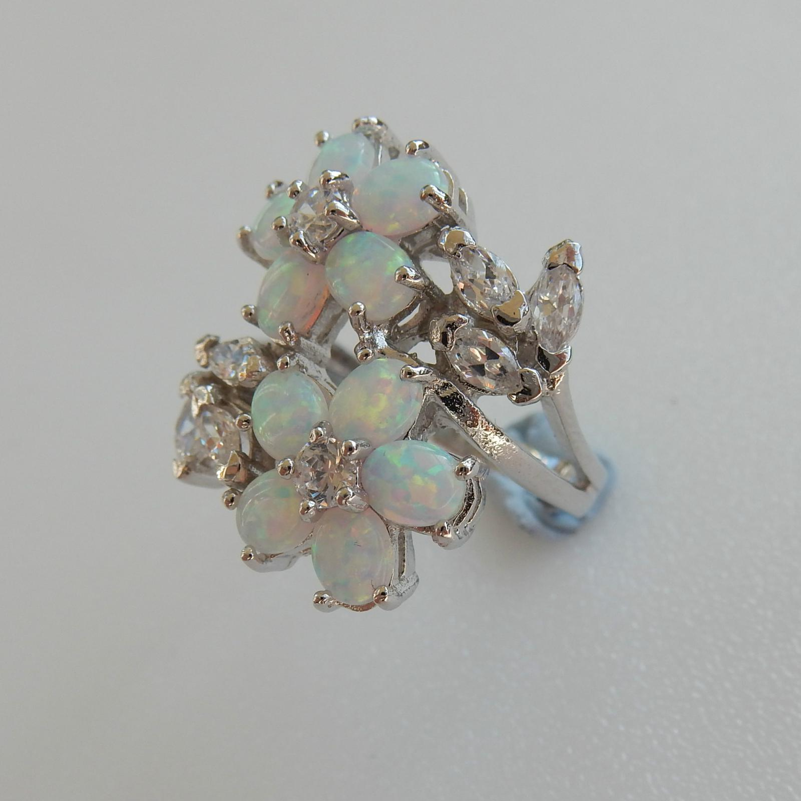 Photo of Silver & Gilson Opal Flower Ring