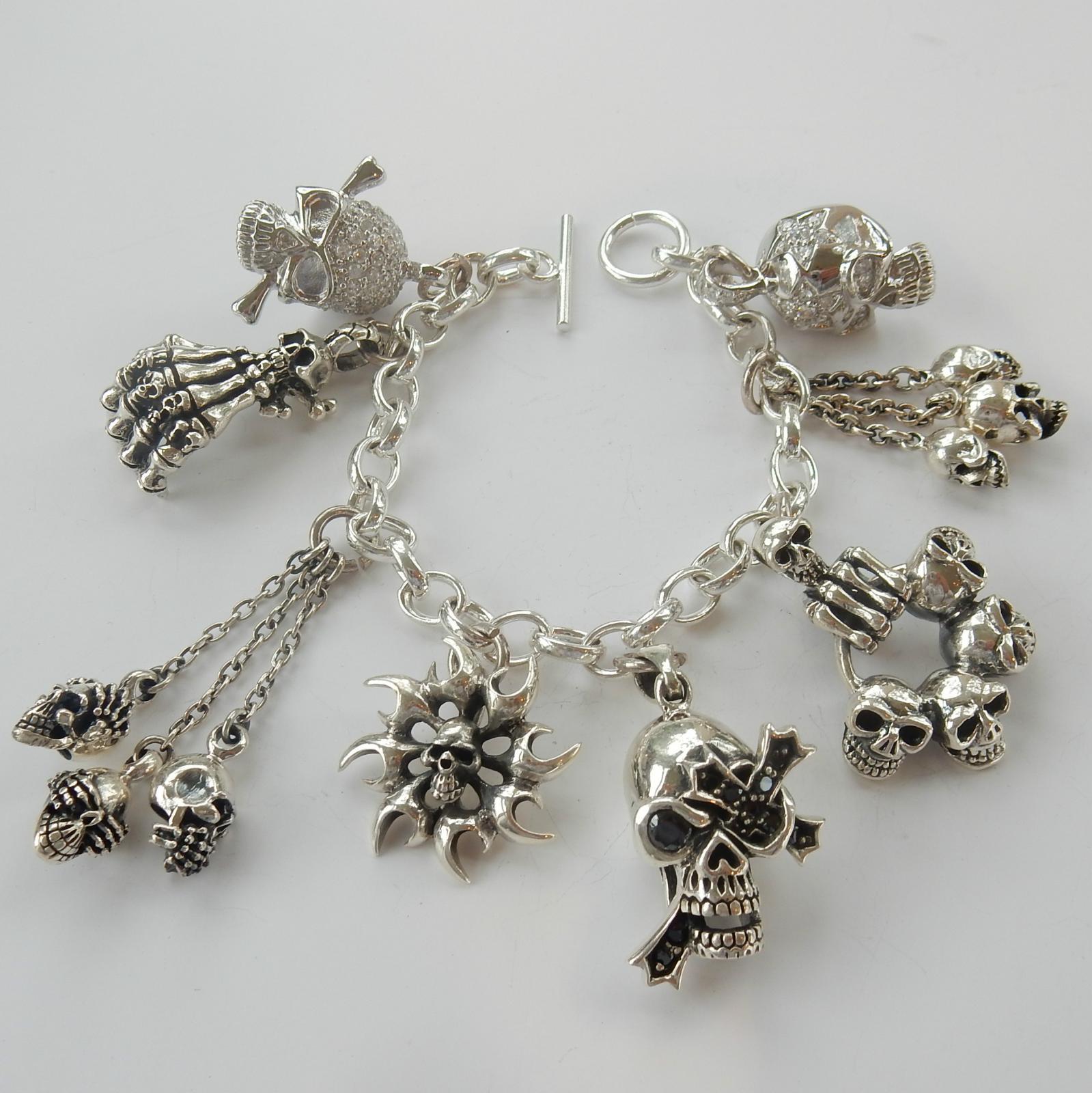 Photo of Sterling SilverGothic Skull Charm Bracelet