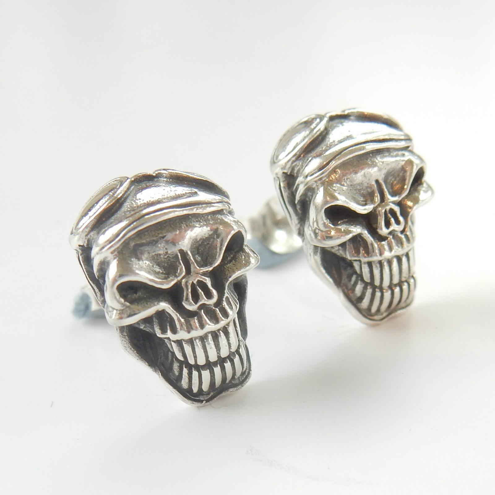 Photo of Sterling Silver Gothic Skull Earrings