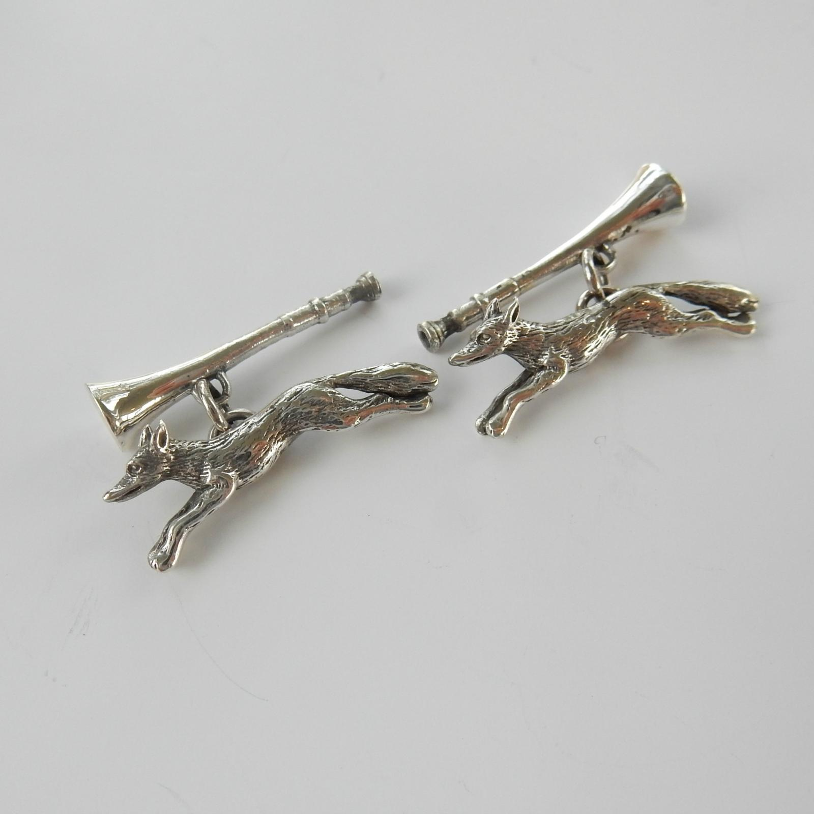 Photo of Sterling Silver Fox & Trumpet Cufflinks