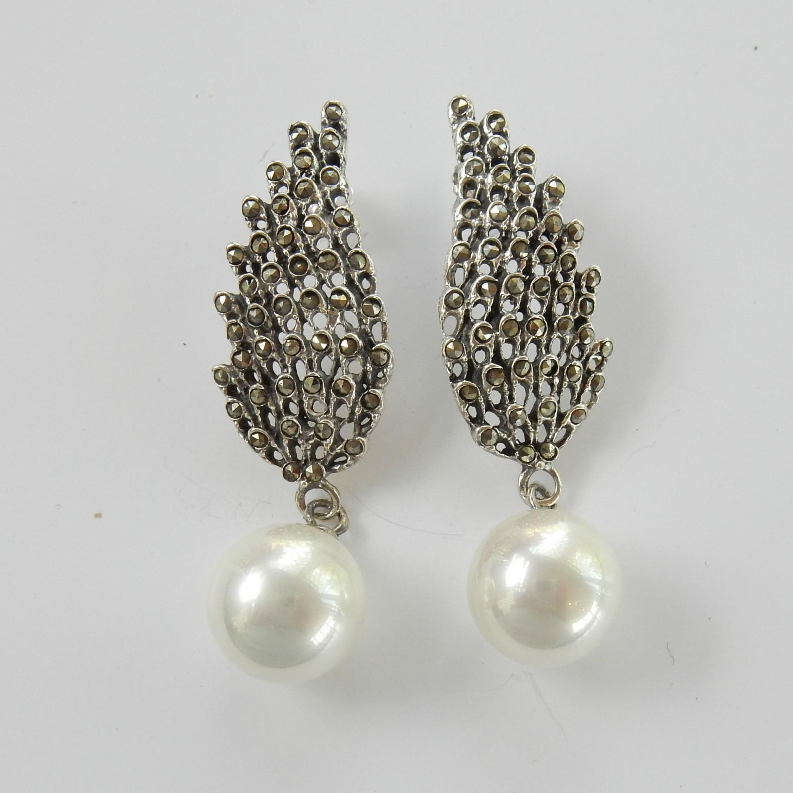 Photo of Marcasite & Pearl Angel Wing Earrings
