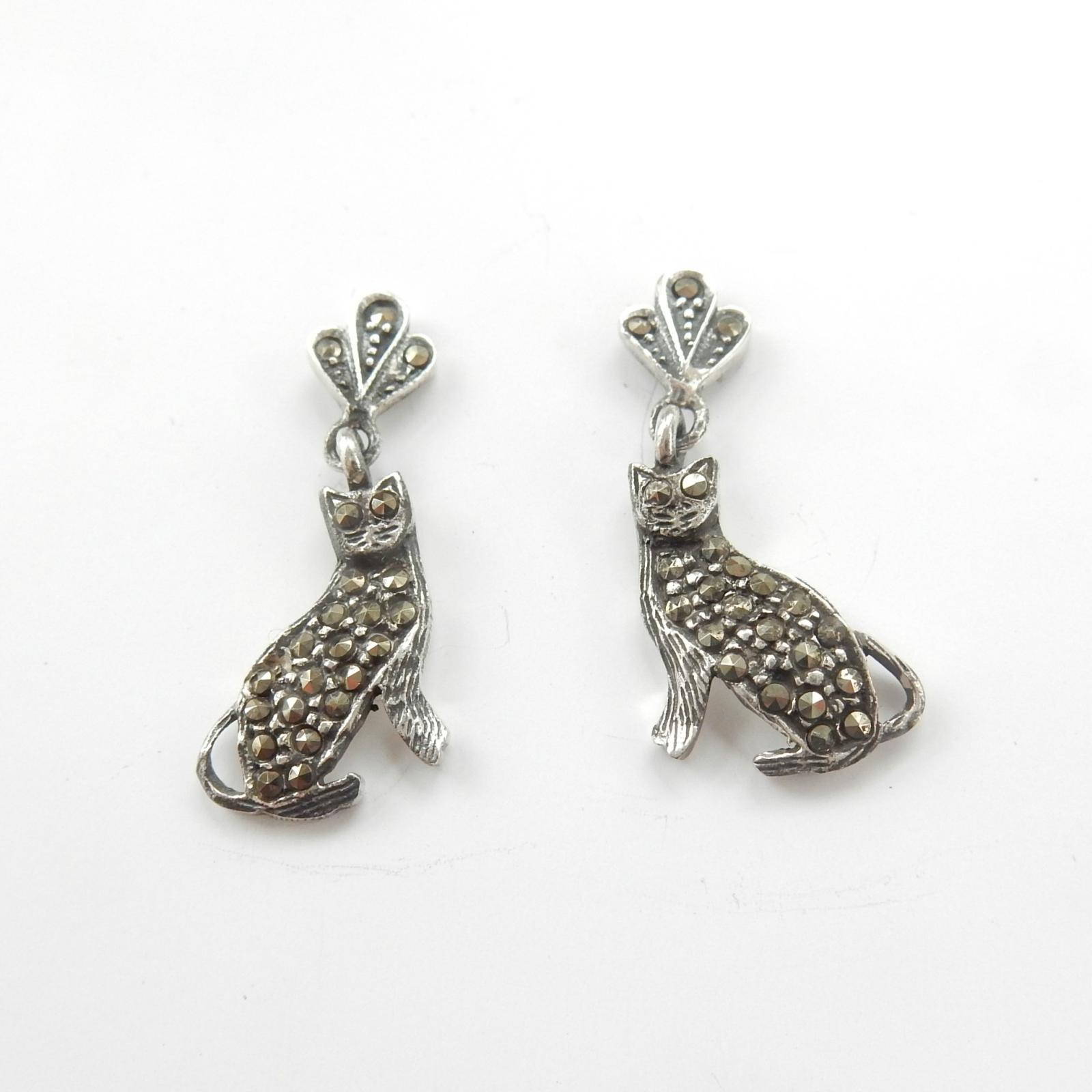 Photo of Silver & Marcasite Cat Earrings