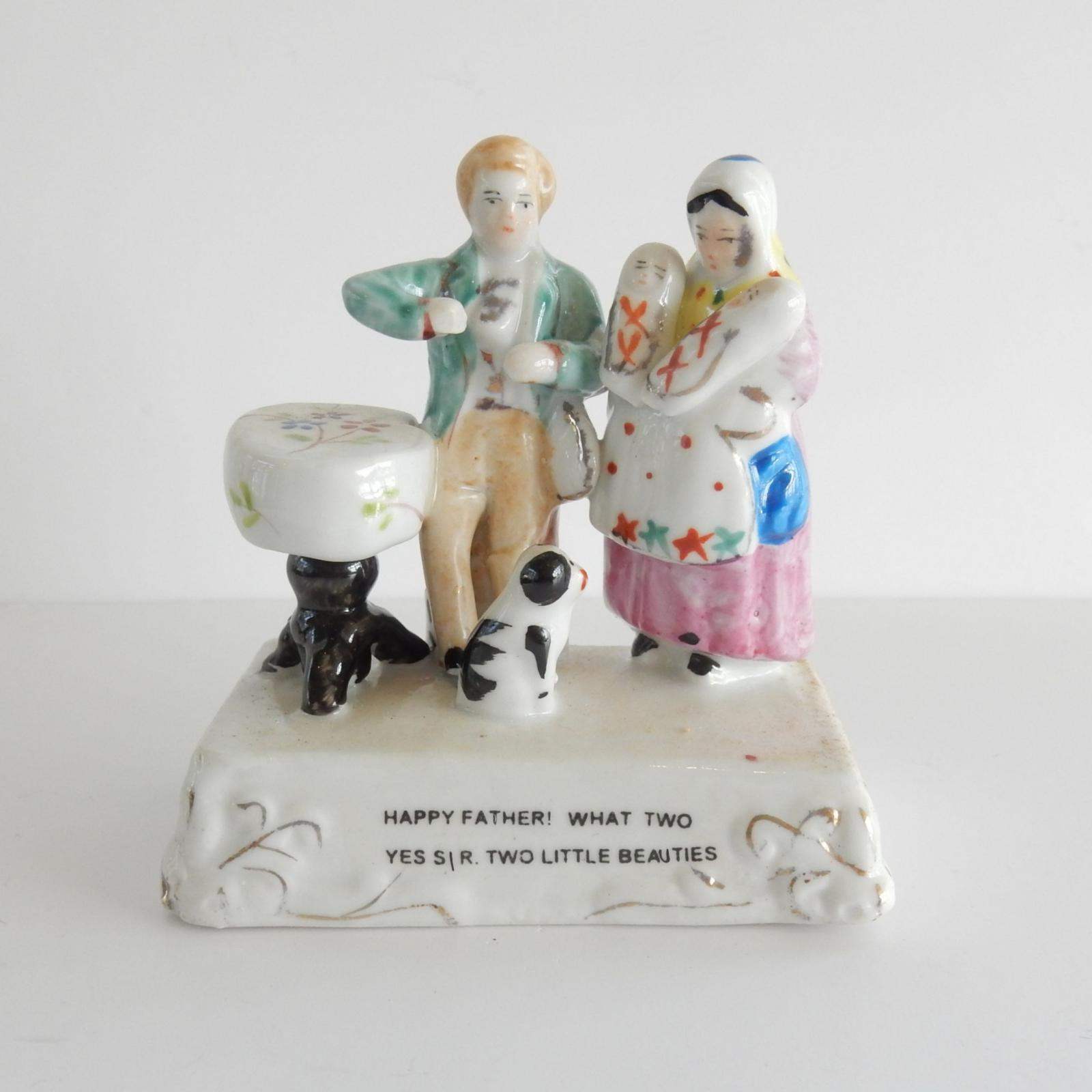 Photo of Victorian Porcelain Fairing Happy Father Two Little Beauties