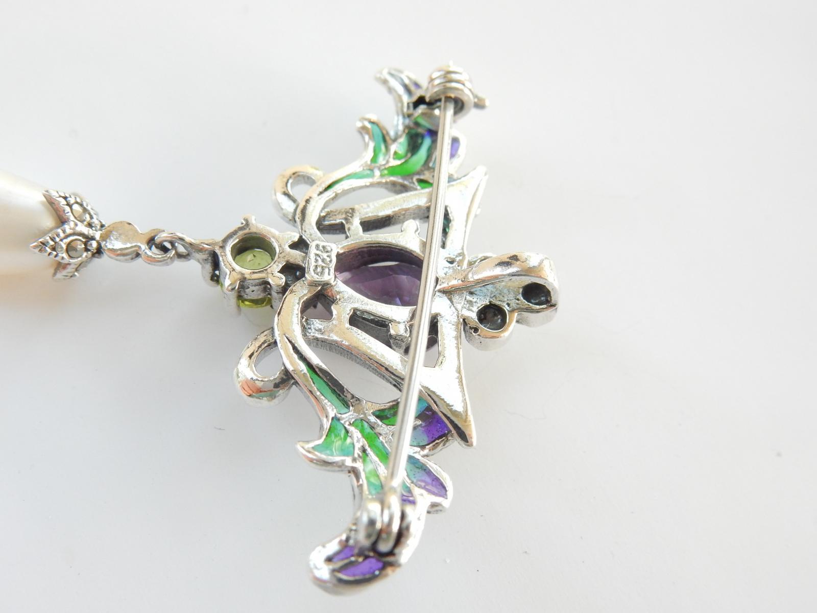 Photo of Solid Silver Purple Amethyst & Topaz Pendant