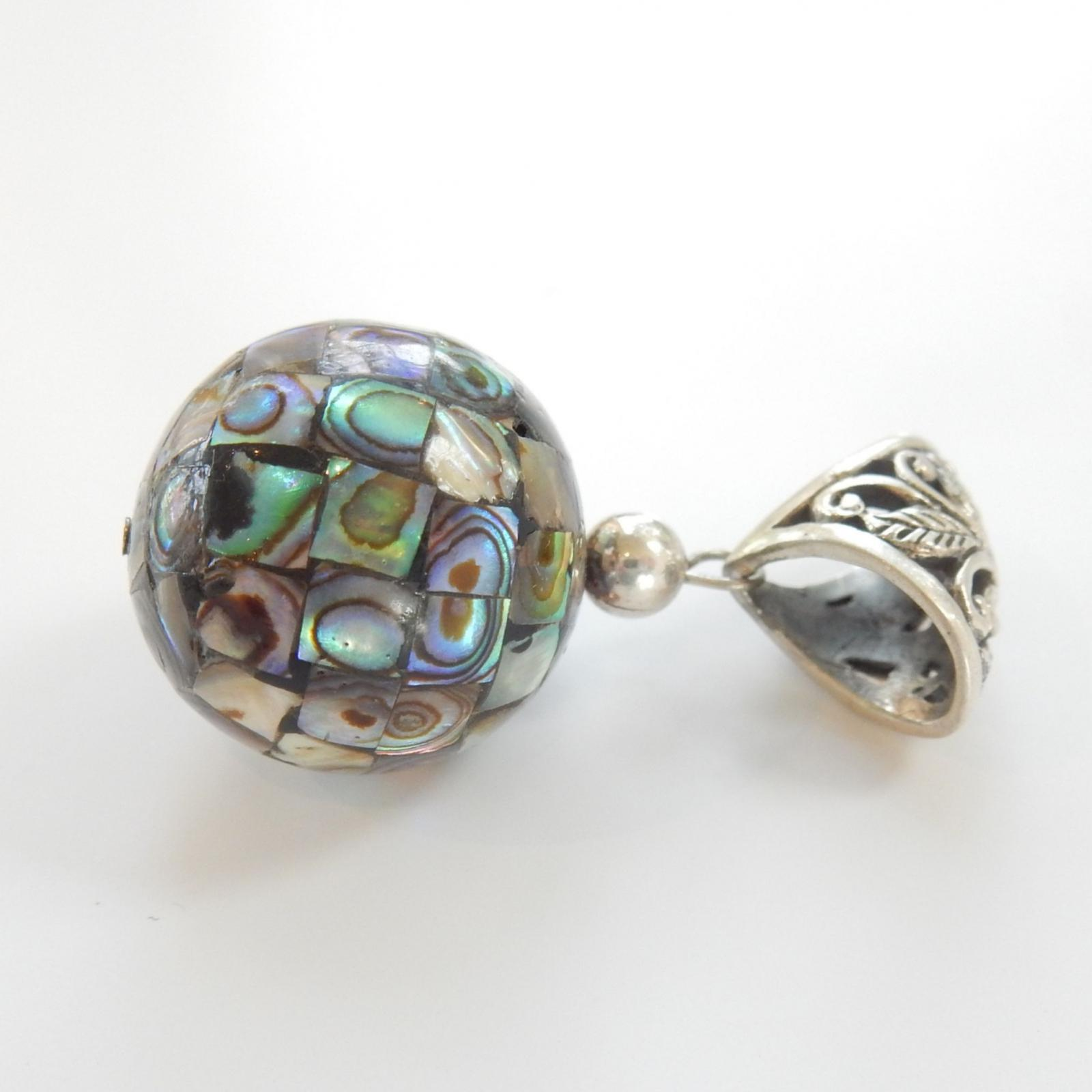 Photo of Vintage Filigree Silver Inlaid Abalone Shell Pendant