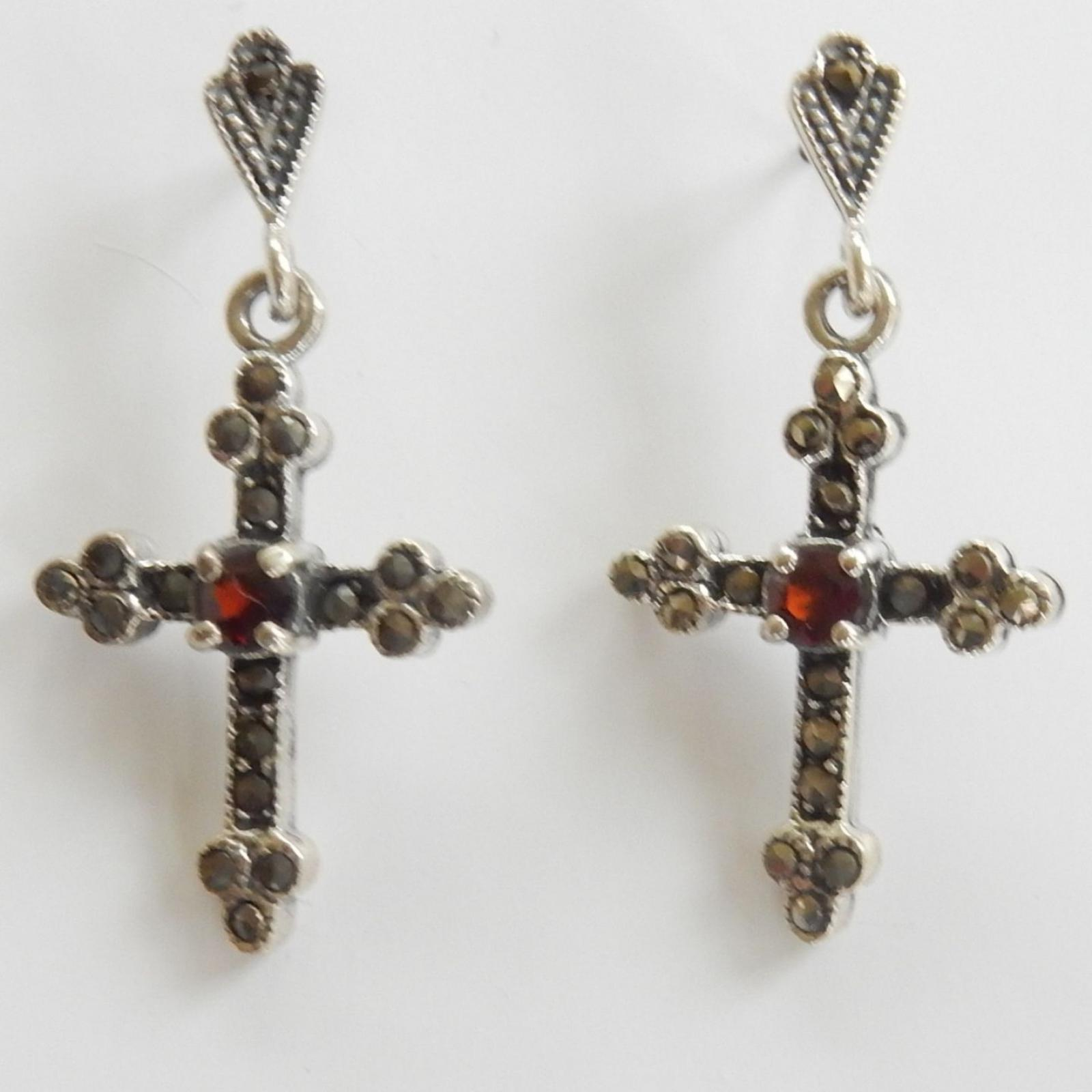 Photo of Vintage Garnet Crucifix Earrings