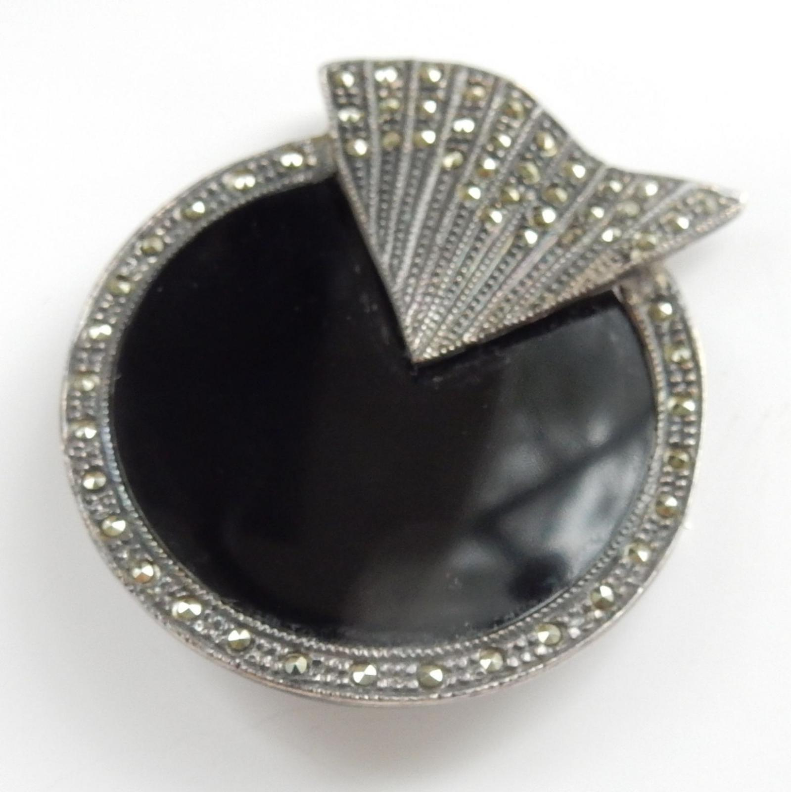Photo of Art Deco Onyx & Marcasite Brooch