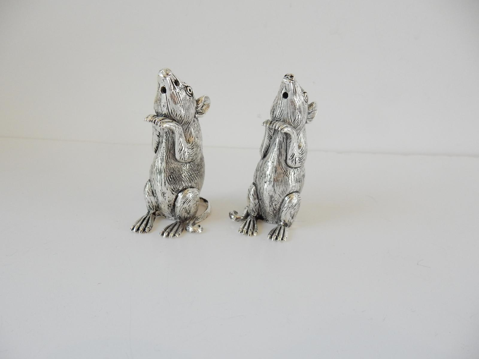 Photo of Pair 800 Mark Silver Mouse Salt & Pepper